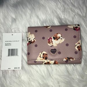 Betsey Johnson Boxed Small Flap Wallet Blush Puppy